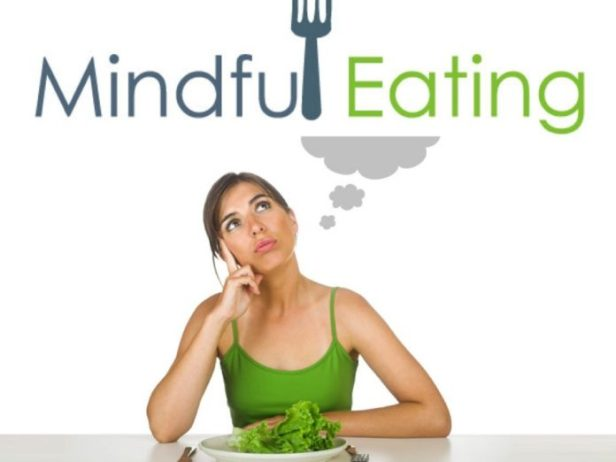 Mindful eating pretty girl and fork